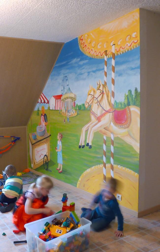 Un décor coloré pour une salle de jeux