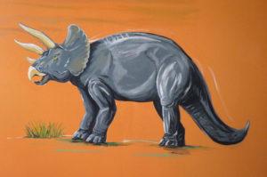 peinture dinosaure tricératops chambre enfant