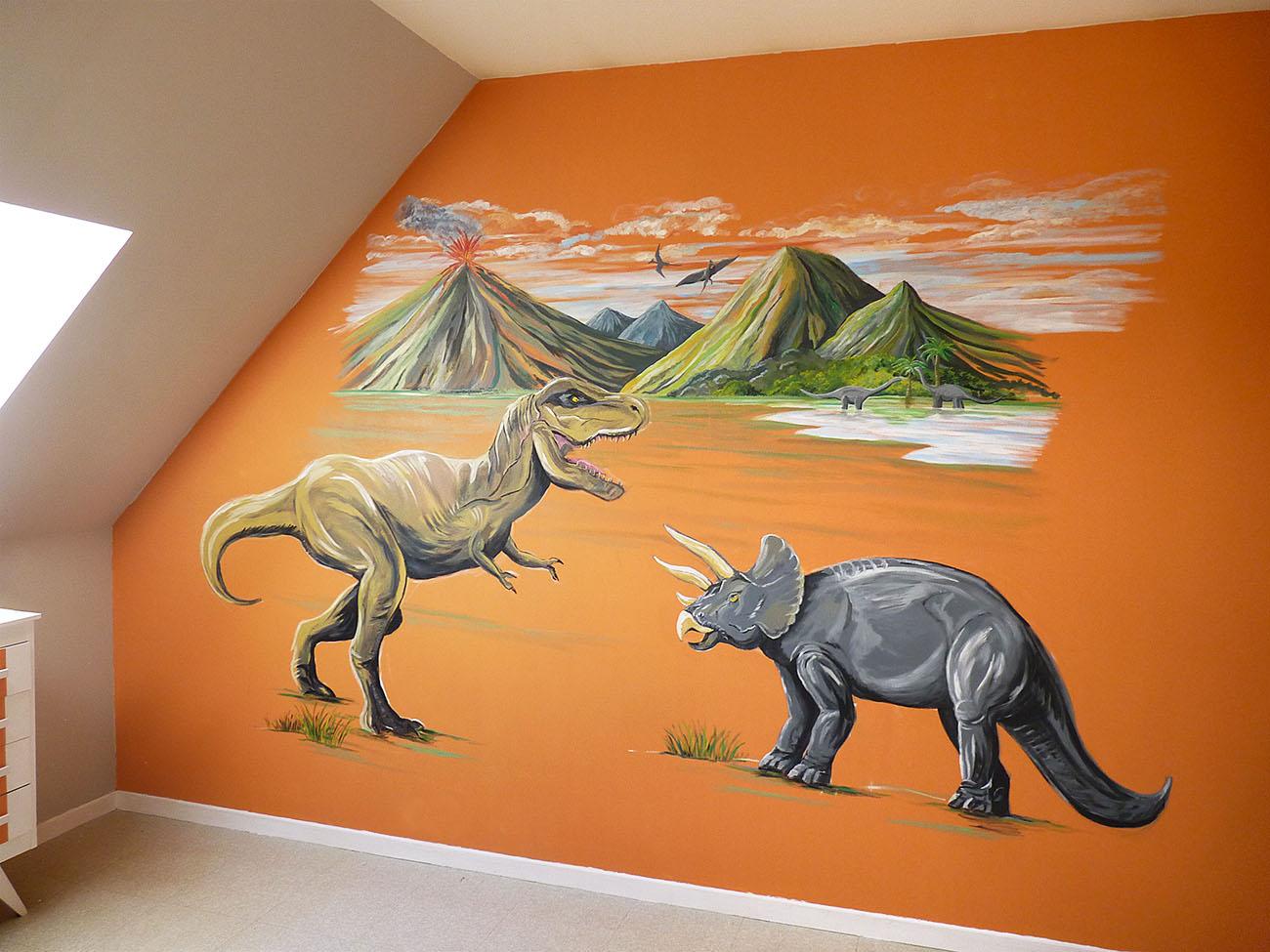 chambre enfant décoration dinosaure