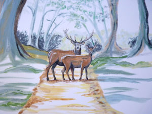 cerf biche forêt peinture