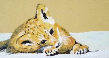 Peinture d'un lionceau