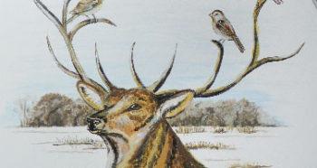 Peinture de cerf sur un guéridon
