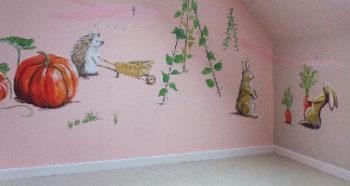 Peinture de lapin dans une chambre