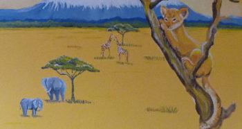 Peinture de la savane dans une chambre