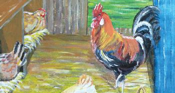 peinture poule coq